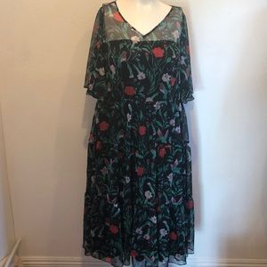 LIZA LUXE FIT & FLARE  GREEN FLORAL DRESS SIZE 2X